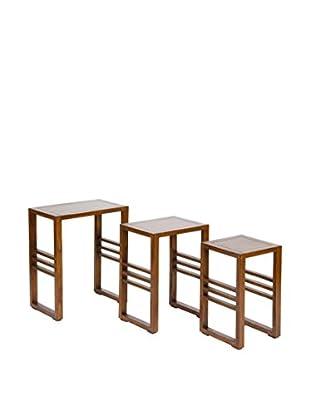 Colonial Style Beistelltisch 3er Set braun