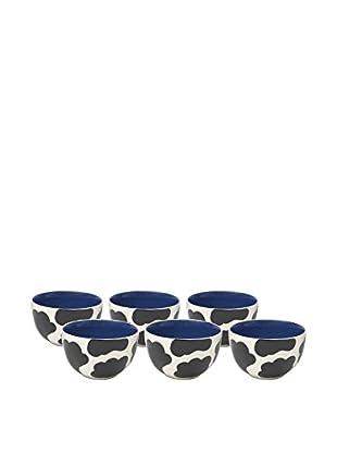 Woodard & Charles Set of 6 Cow Ice Cream Bowls, Blue