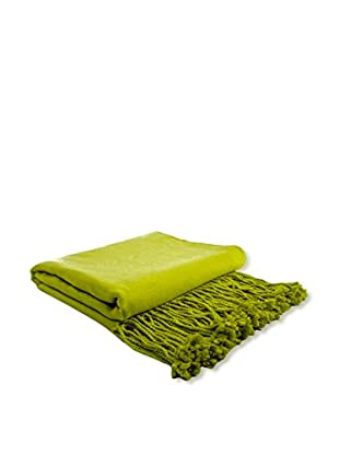 PÜR Cashmere Rayon From Bamboo Velvet Throw, Chartreuse