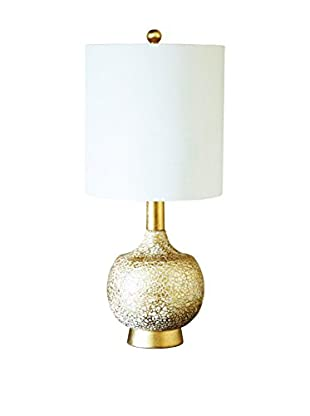 Couture Atwater 1-Light Table Lamp, Gold/White Cracked Eggshell