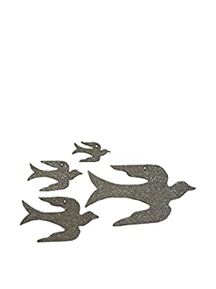 Wendy Addison Set of Four Glass Glitter Birds, Silver