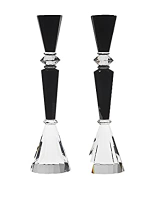 Godinger Essex Candlesticks, Black/Clear