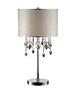 ORE International Drape Crystal 3-Light Table Lamp, Clear/Silver
