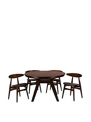 Baxton Studio Flamingo Mid-Century Wood 5-Piece Dining Set, Brown/Grey