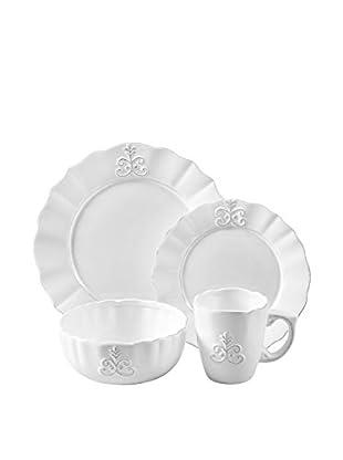 American Atelier 16-Piece White Bianca Fleur Dinnerware Set