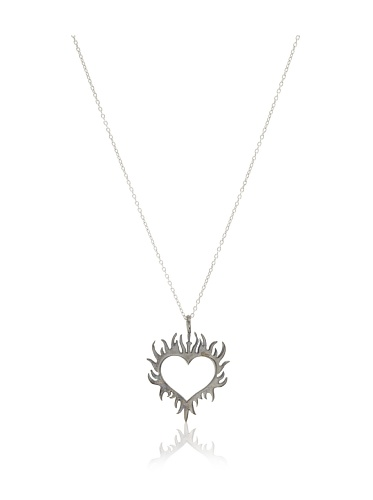 Catherine Angiel Silver & Black Rhodium Flaming Heart Pendant Necklace