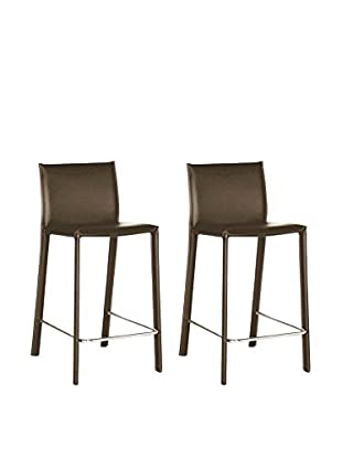 Baxton Studio Set of 2 Leather Barstools, Brown