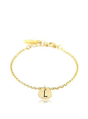 Ettika 18K Gold-Plated L Initial Chain Bracelet