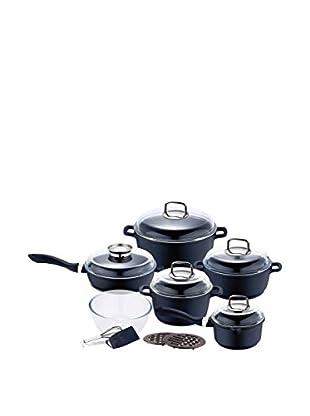 Swiss SF Set Batería de cocina 15 Piezas Antiadherente Granito Negro