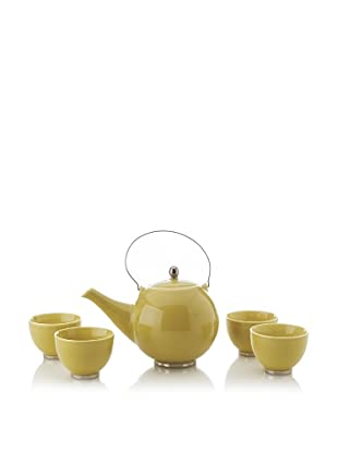 Classic Coffee & Tea Japanese Teapot with 4 Tea Cups, Yellow, 27-Oz.