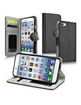 INSTEN Wallet Leather Case with Stand, Card Slots and Flip Cover for Apple iPhone 6 - Retail Packaging - Black