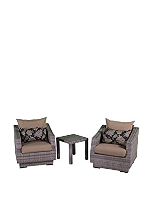 RST Brands Cannes Club Chairs & Side Table Set, Beige