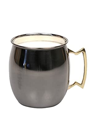 Jodhpuri 14-Oz. Leather Moscow Mule Mug Candle, Black/White
