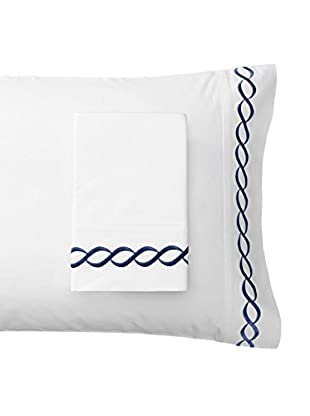 Mélange Pair of 600 TC Rope Embroidered Egyptian Cotton Pillowcases