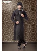 Black Art Silk Kurta with Churidar