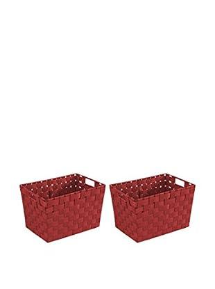 Wenko Aufbewahrungskorb 2er Set rot 35 x 20 x 25