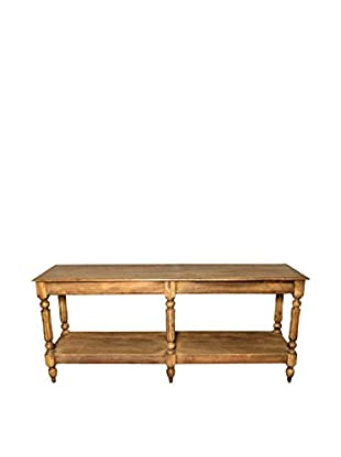 Moti Park Hill Console Table With Shelves, Light Brown