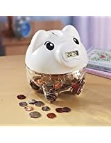 Digital Piggy Coin Counting Bank - White