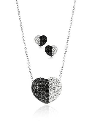 Shiny Cristal Set Collier und Ohrringe rhodiniertes Silber 925