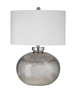 Bassett Mirror Company Gardena Table Lamp, Silver Leaf & Black