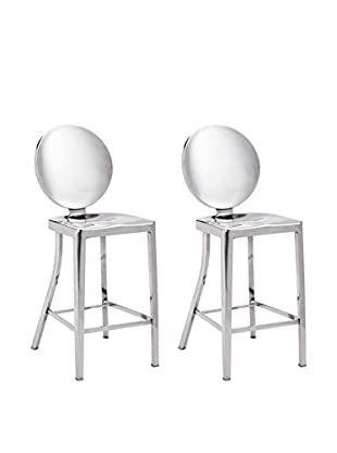 Zuo Set of 2 Autumn Counter Chairs, Polished Stainless Steel