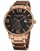 Akribos Black Mother Of Pearl Rose Gold-Tone Mens Watch Ak566Rg