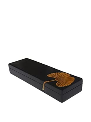 The Niger Bend Long, Flat Soapstone Box with Ginko Leaf Design