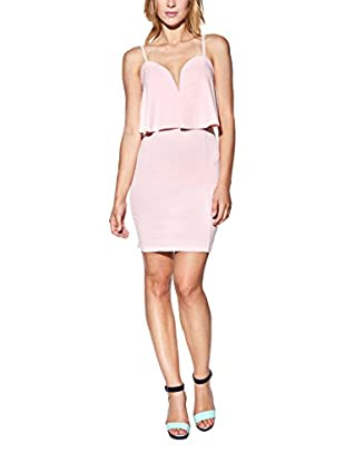 Candy Vestido Tight Mini With Strapless Neckline, Layered And Panels Rosa ES 40