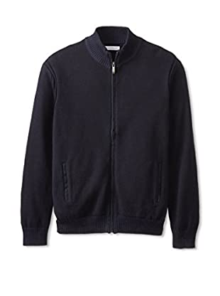 Alex Cannon Men's Zip Cardigan with Elbow Patches (Navy)