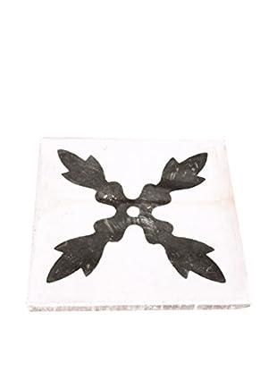 Portuguese Flower I Tile, White/Black