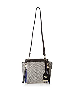 POVERTY FLATS by rian Women's Herringbone Double Strap Shoulder, Grey