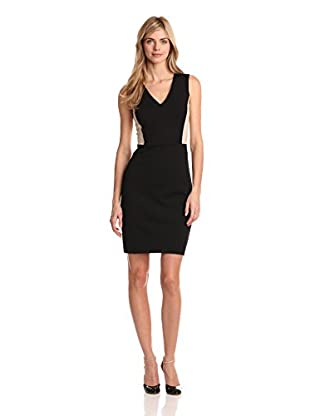 DKNYC Women's V-Neck Combo Dress (Black)