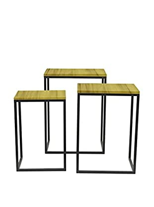 Three Hands Set of 3 Accent Tables, Natural