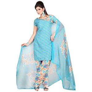 Cyan Cotton Salwar Kameez