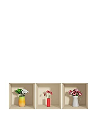 Ambiance Live Wandtattoo 3 tlg. Set 3D Effect flowers in pot (Reusable) mehrfarbig