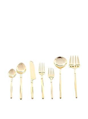 Cunill Beveled Handle 42-Piece Flatware Set, Gold