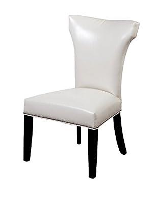 Bassett Mirror Company Nelson Shaped Nailhead Parsons Chair, Ivory