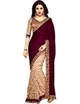 Radheinfo Women's Velvet and braso Saree With Blouse (Brown)