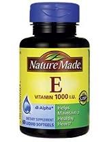 Nature Made Vitamin E 1000 I.U. Dietary Supplement Liquid Softgels - 60 CT