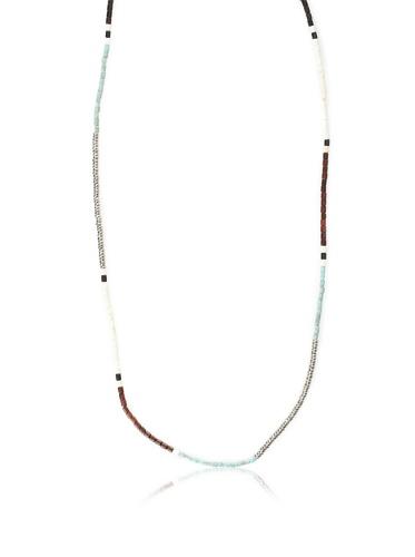 Shashi Zen Necklace, White Gold/Turquoise
