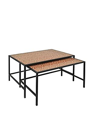 Three Hands Set of 2 Metal/Wood Tables