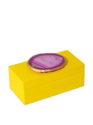 Mapleton Drive Medium Yellow Lacquer Box with Pink Agate