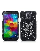 Aimo Wireless Dazzling Diamond Bling Case for Samsung Galaxy S5 - Retail Packaging - Butterfly Black