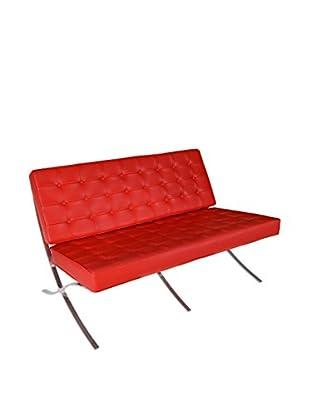 Regency Leather & Chrome Loveseat, Red