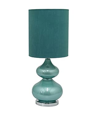 Three Hands Glass Table Lamp, Turquoise