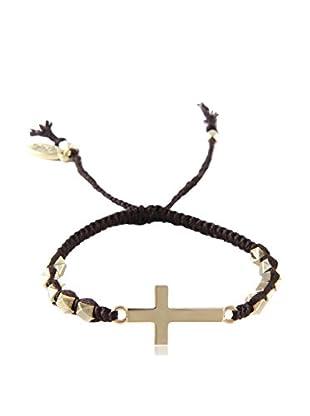 Ettika Dark Brown & 18K Gold-Plated Beaded Crossfire Bracelet