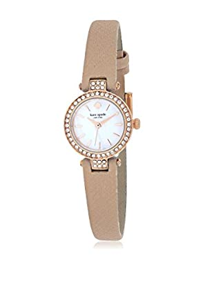 kate spade new york Women's 1YRU0719 Tiny Metro Beige/Mother of Pearl Stainless Steel and Leather Watch