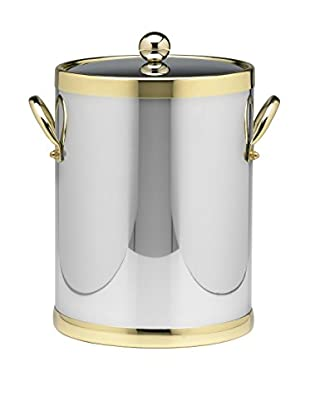 Kraftware Polished Chrome & Brass 5-Qt. Double Metal Handled Ice Bucket
