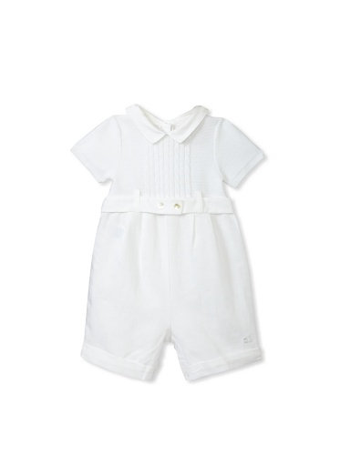 Emile et Rose Baby Boy's True Knit and Linen Romper with Hat (White)