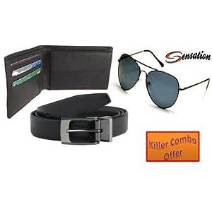 Combo of Sensation Aviator Sunglasses + Black Casual Belt + Wallet - Black